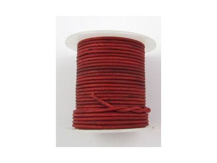 Leather stripe round Red 2mm