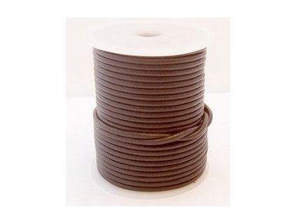 Leather stripe round brown 3mm