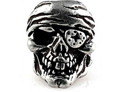Kovová korála Schmuckatelli Co One-Eye Jack Skull Bead Pewter SMUKOJP