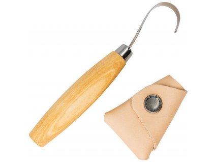 Rezbársky nôž pre ľavákov Mora Wood Carving Hook Knife 164 s koženým puzdrom
