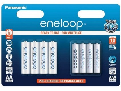 Dobíjacie batérie BK-KJMCCE44E Panasonic Eneloop AA 1900 mAh 4ks + AAA 750 mAh 4ks KJMCCE4