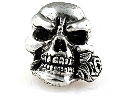 Kovová korála Schmuckatelli Co Rose Skull Bead Pewter