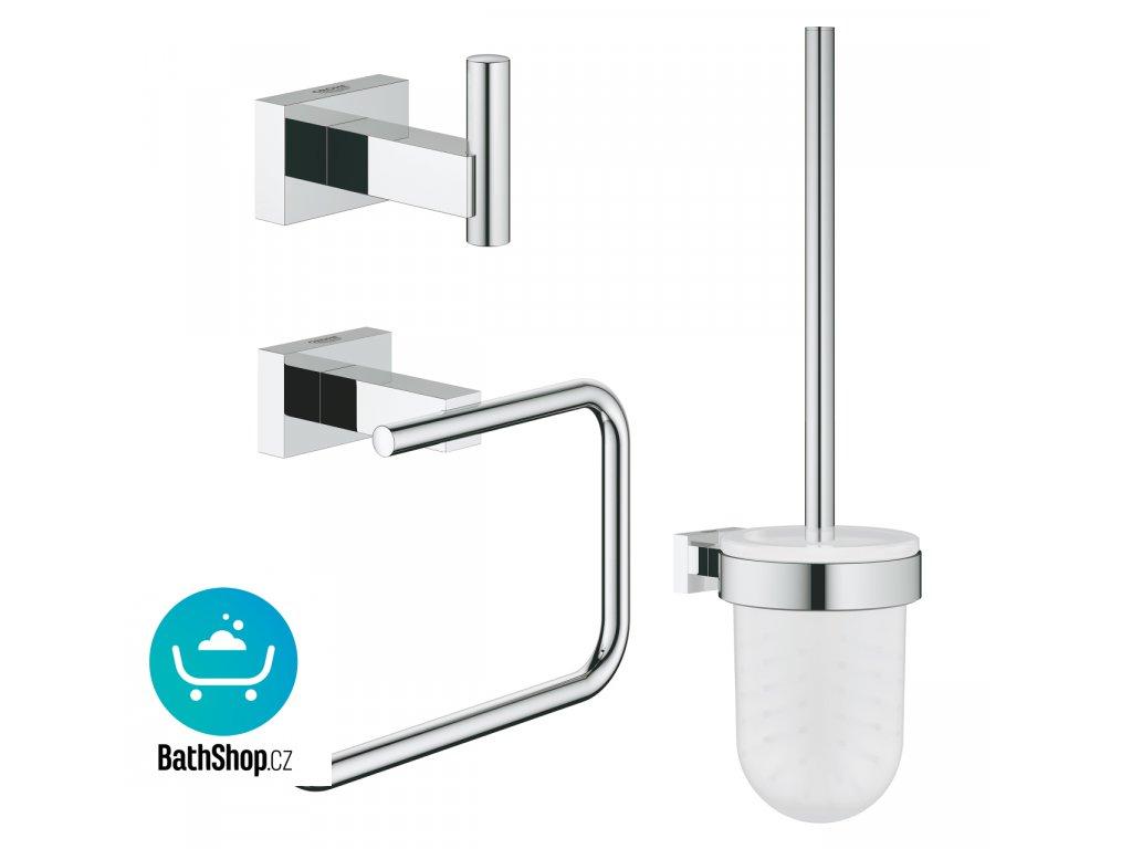 Grohe ESSENTIALS CUBE NEW Sada doplňků pro toaletu 3 v 1, chrom - 40757001
