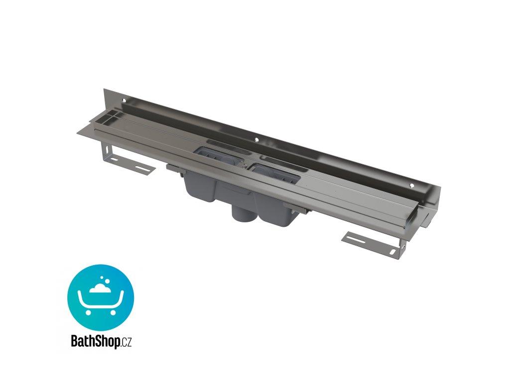 Alcaplast Flexible – Podlahový žlab s okrajem pro perforovaný rošt a s nastavitelným límcem ke stěně - APZ1004-650