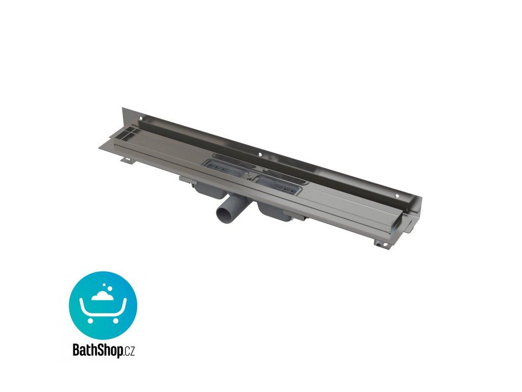 Alcaplast Flexible Low - Podlahový žlab s okrajem pro perforovaný rošt asnastavitelným límcem ke stěně, 750 mm - APZ104-750