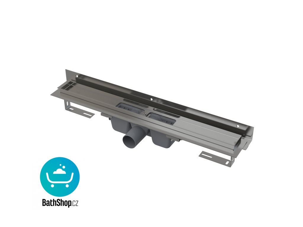 Alcaplast Flexible - Podlahový žlab s okrajem pro perforovaný rošt asnastavitelným límcem ke stěně, 850 mm  - APZ4-850