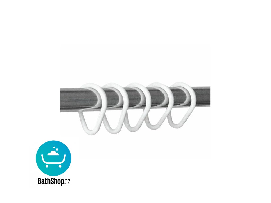 Sapho Kroužky na sprchový záves 12 ks, plast, bílá - 1493011