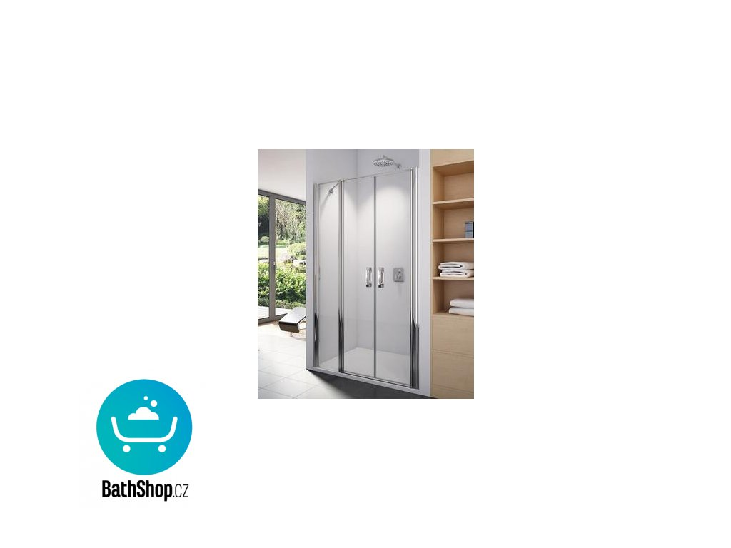 Sanswiss SWING-LINE Dvoukřídlé dveře s pevnou stěnou v rovině - SL3212005007