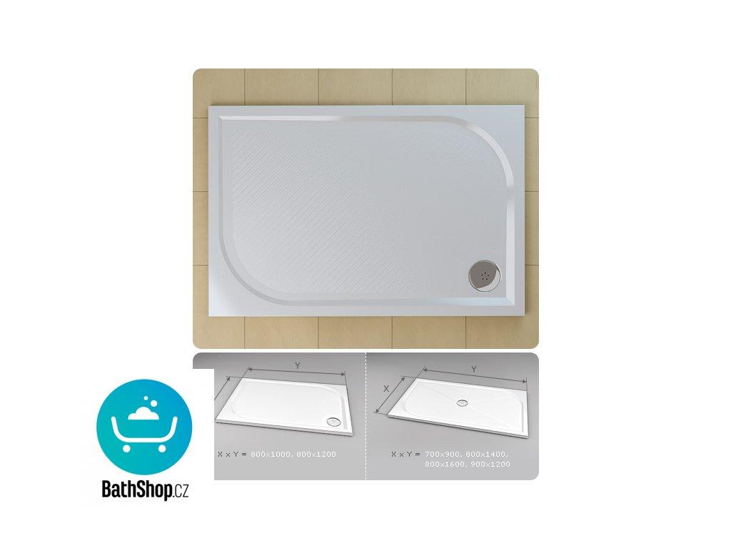SanSwiss  MARBLEMATE sprchová vanička z litého mramoru, obdélník 120x80x3 cm, bílá - WMA8012004