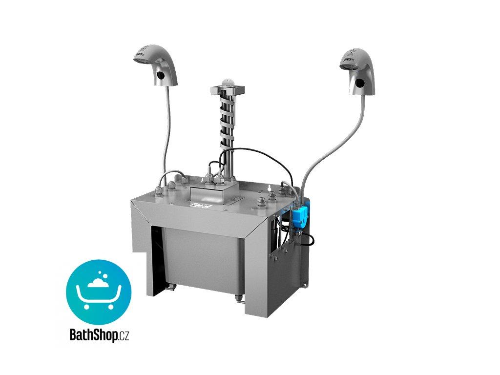 Automatická nerezová stojánková baterie (2 ks) s centrálním dávkovačem mýdla a elektronikou ALS pro jednu vodu, nádržka na mýdlo 6 l, 230 V AC