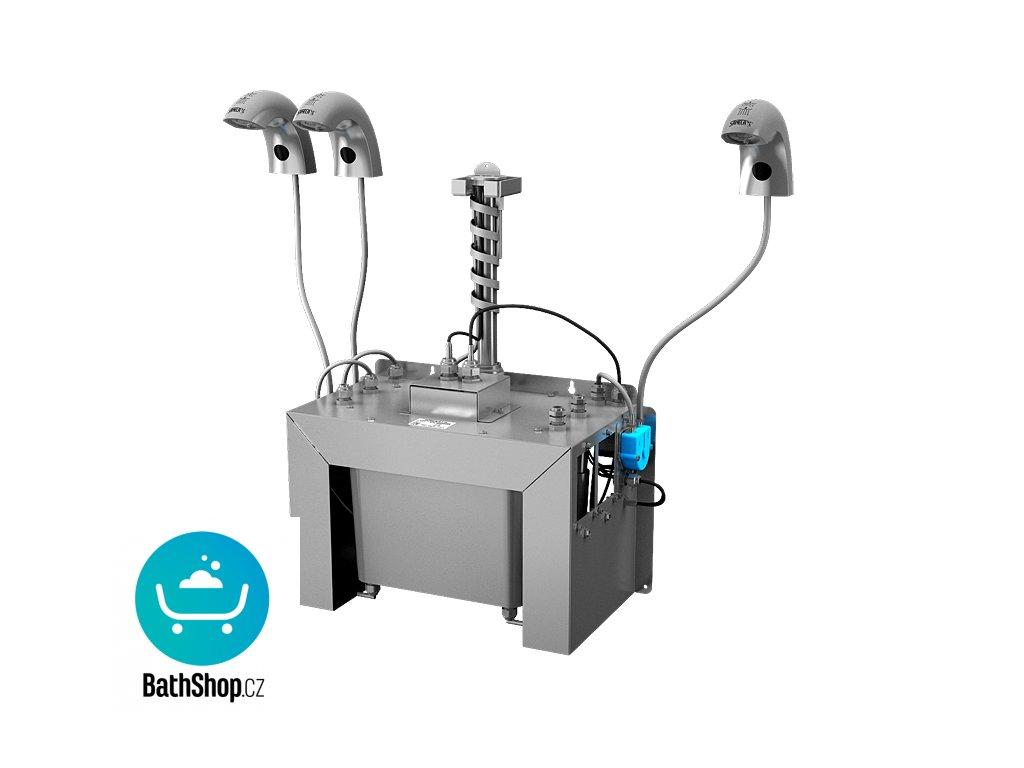 Automatická nerezová stojánková baterie (3 ks) s centrálním dávkovačem mýdla a elektronikou ALS pro jednu vodu, nádržka na mýdlo 6 l, 230 V AC