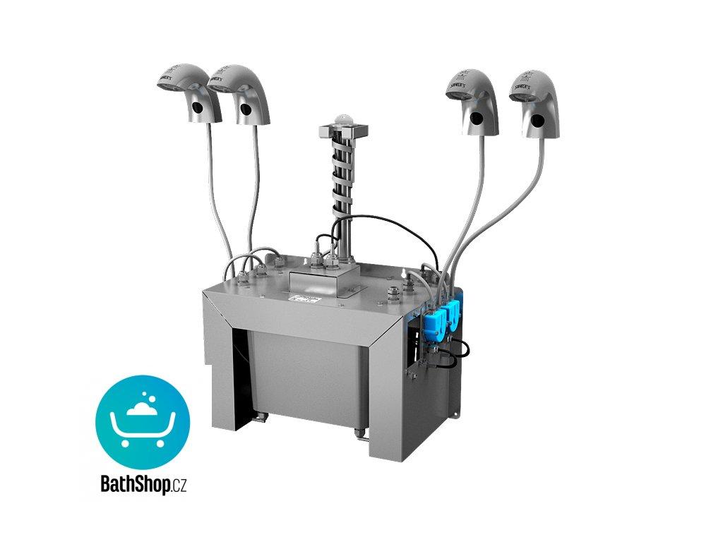 Automatická nerezová stojánková baterie (4 ks) s centrálním dávkovačem mýdla a elektronikou ALS pro jednu vodu, nádržka na mýdlo 6 l, 230 V AC