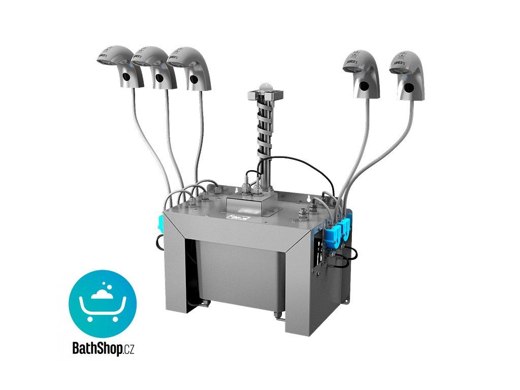 Automatická nerezová stojánková baterie (5 ks) s centrálním dávkovačem mýdla a elektronikou ALS pro jednu vodu, nádržka na mýdlo 6 l, 230 V AC