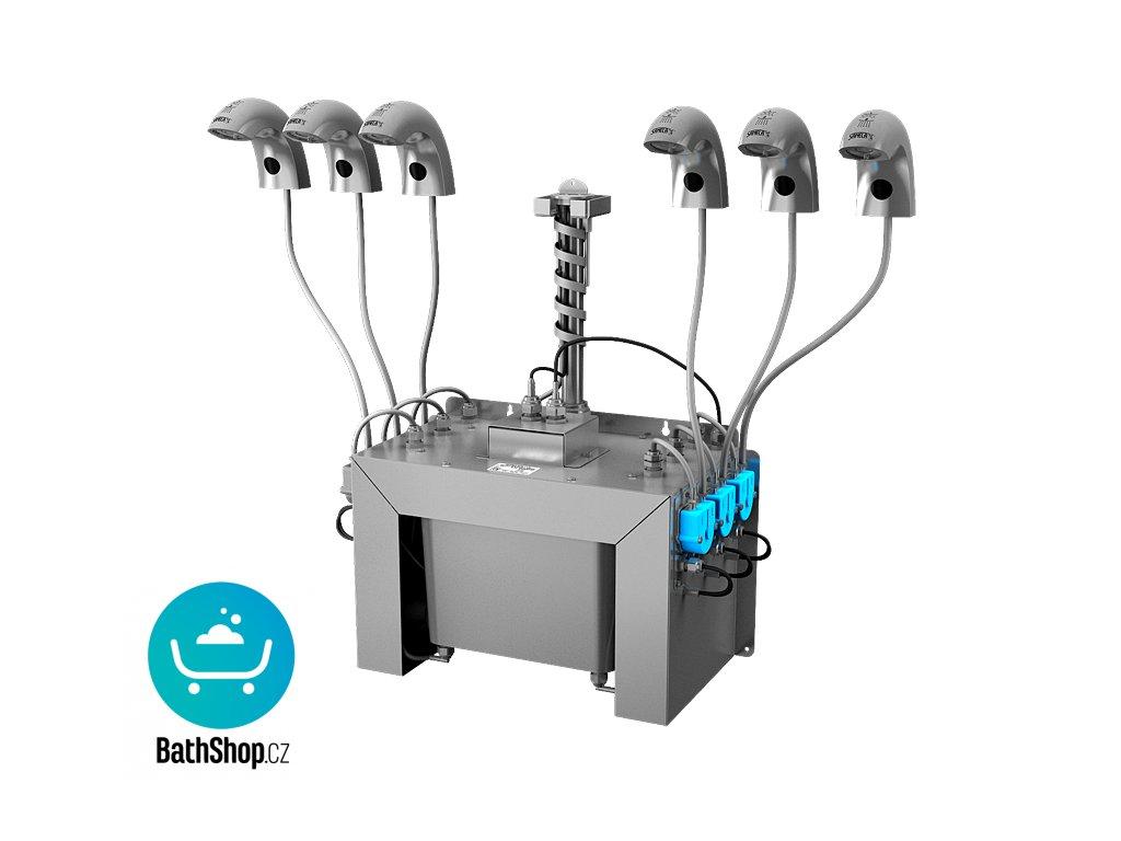 Automatická nerezová stojánková baterie (6 ks) s centrálním dávkovačem mýdla a elektronikou ALS pro jednu vodu, nádržka na mýdlo 6 l, 230 V AC