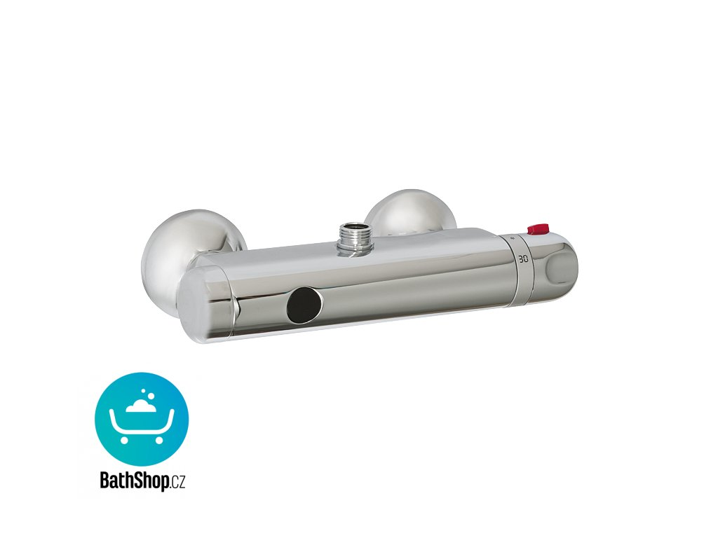 Automatické nástěnné ovládání sprchy s elektronikou ALS s horním vývodem a termostatickým ventilem pro připojení ke sprchovému setu, 24 V DC