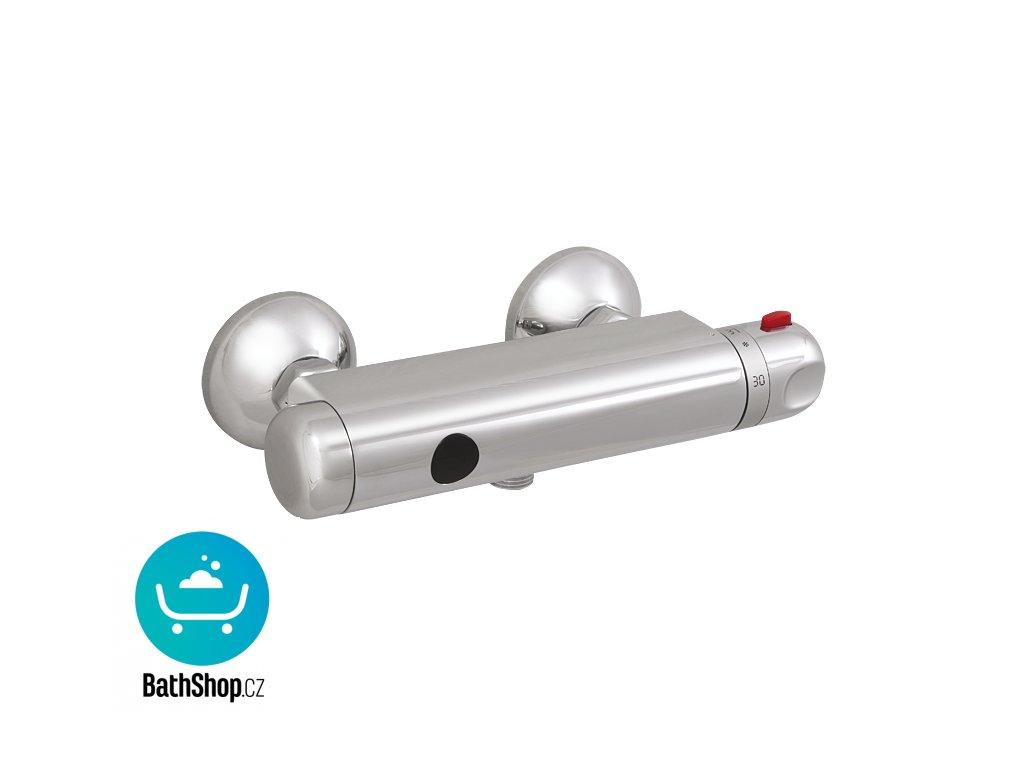 Automatické nástěnné ovládání sprchy s elektronikou ALS se spodním vývodem a termostatickým ventilem pro připojení ke sprchovému setu, 24 V DC