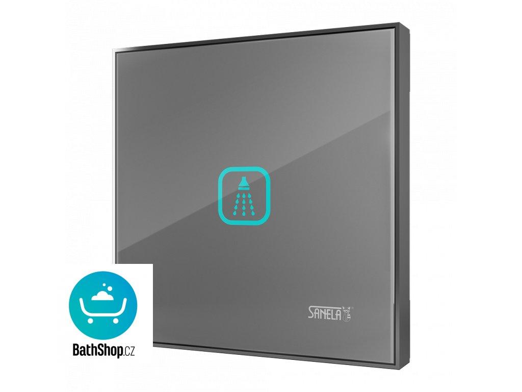 Automatické ovládání sprchy s elektronikou ALS pro jednu vodu, barva skla světle šedá REF 9006, podsvícení azurové, 24 V DC