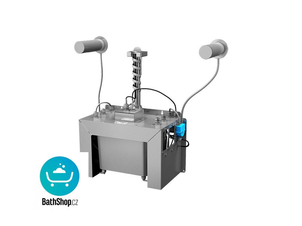 Automatický centrální nástěnný dávkovač mýdla, nerezová ramínka (2 ks), nádržka na mýdlo 6 l, 230 V AC