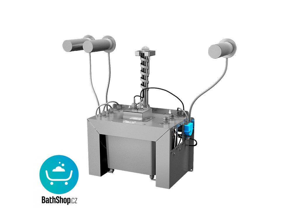 Automatický centrální nástěnný dávkovač mýdla, nerezová ramínka (3 ks), nádržka na mýdlo 6 l, 230 V AC
