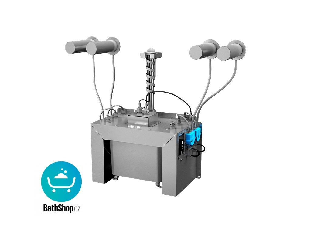 Automatický centrální nástěnný dávkovač mýdla, nerezová ramínka (4 ks), nádržka na mýdlo 6 l, 230 V AC