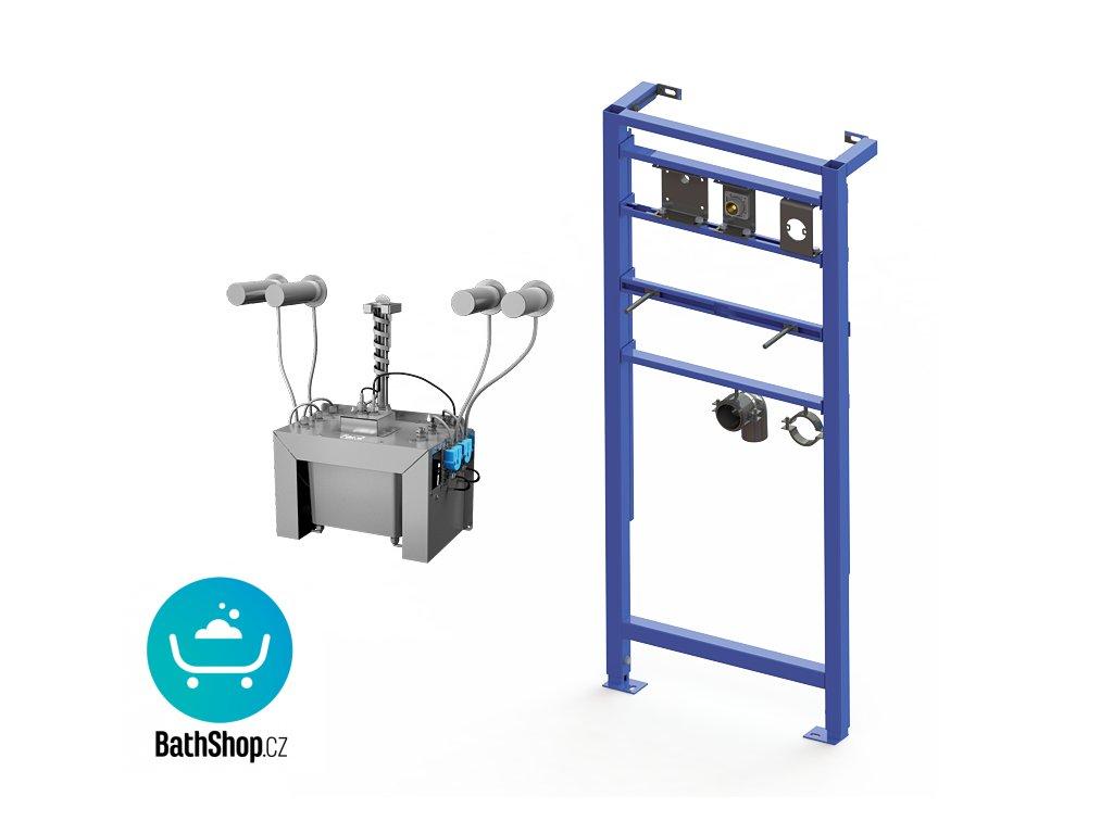 Automatický centrální nástěnný dávkovač mýdla, nerezová ramínka (4 ks), nádržka na mýdlo 6 l, včetně montážního rámu SLR 24, 230 V AC