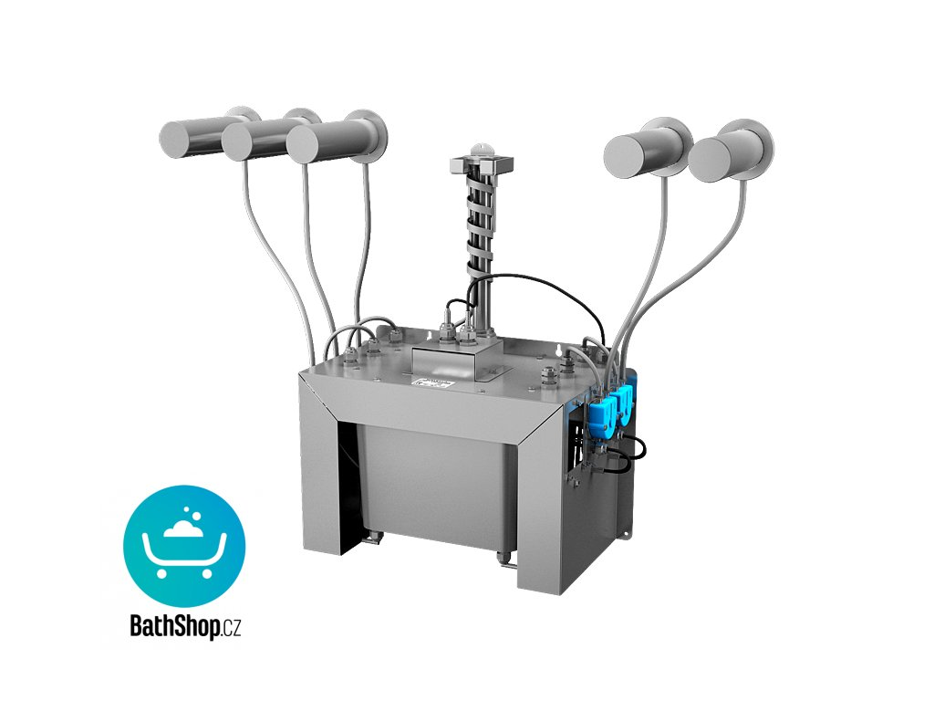 Automatický centrální nástěnný dávkovač mýdla, nerezová ramínka (5 ks), nádržka na mýdlo 6 l, 230 V AC