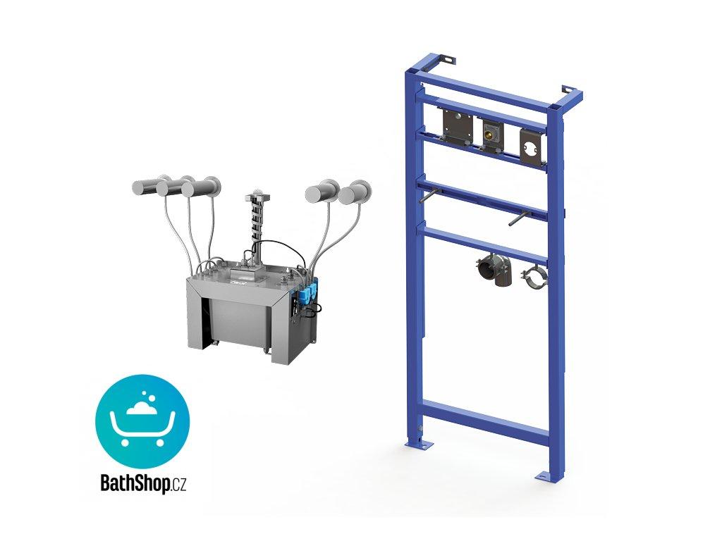 Automatický centrální nástěnný dávkovač mýdla, nerezová ramínka (5 ks), nádržka na mýdlo 6 l, včetně montážního rámu SLR 24, 230 V AC