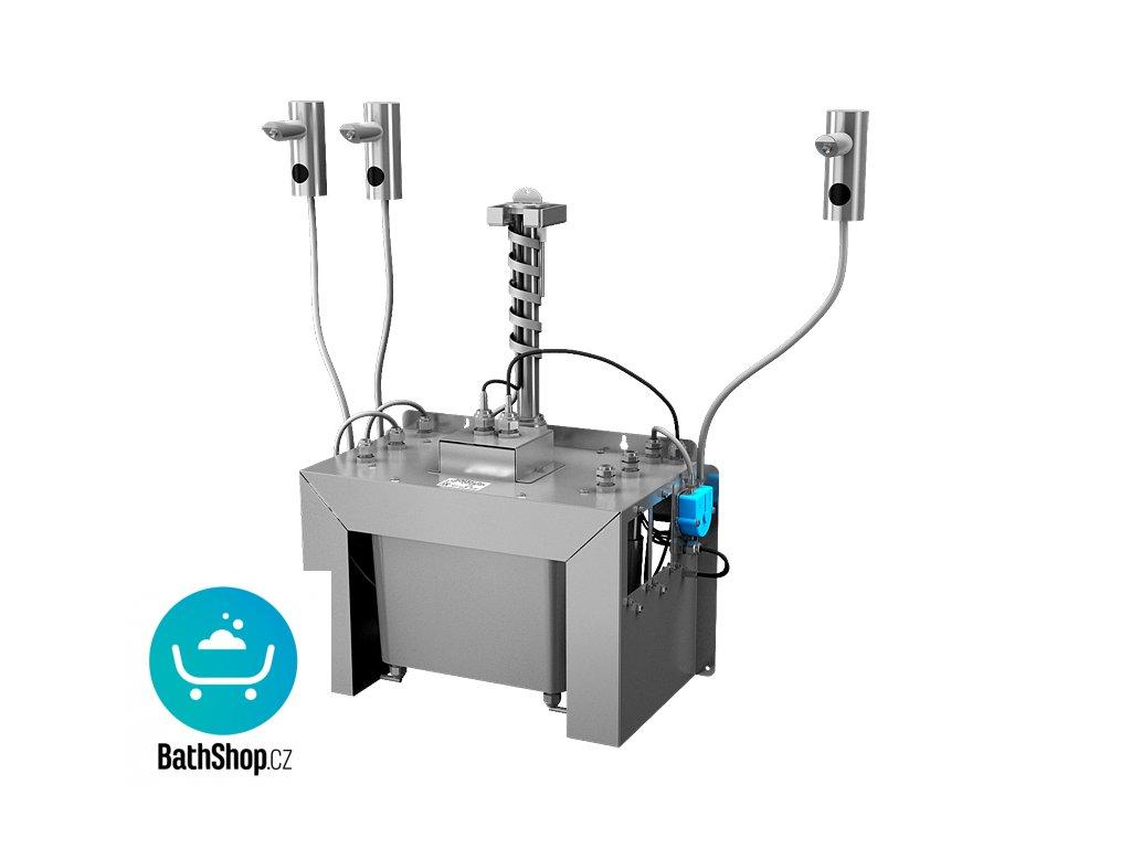 Automatický centrální stojánkový dávkovač mýdla, nerezová ramínka (3 ks), nádržka na mýdlo 6 l, 230 V AC