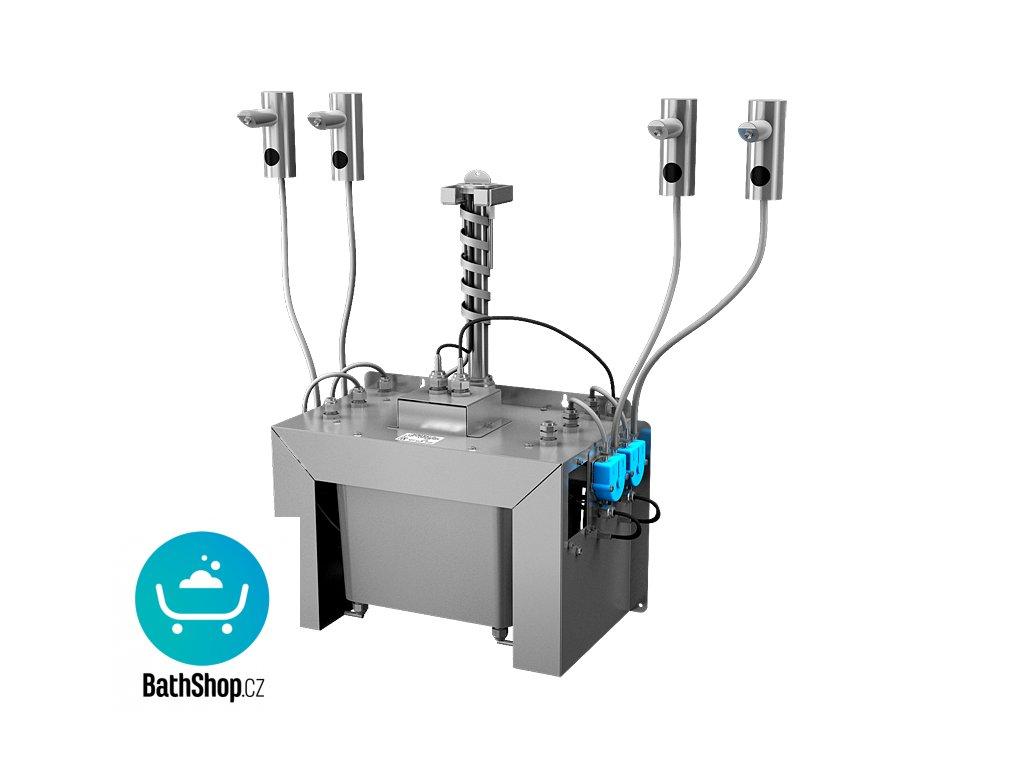 Automatický centrální stojánkový dávkovač mýdla, nerezová ramínka (4 ks), nádržka na mýdlo 6 l, 230 V AC