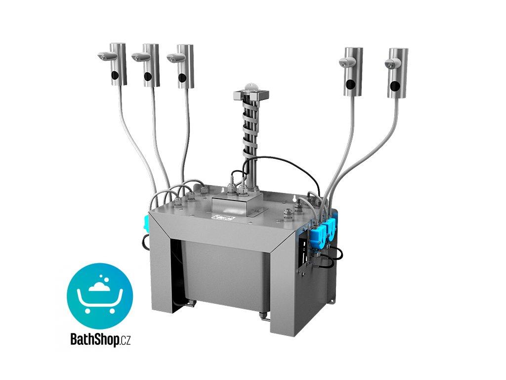 Automatický centrální stojánkový dávkovač mýdla, nerezová ramínka (5 ks), nádržka na mýdlo 6 l, 230 V AC
