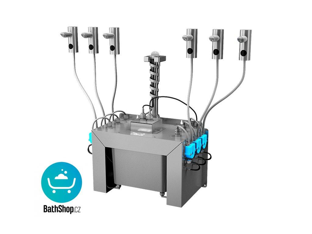 Automatický centrální stojánkový dávkovač mýdla, nerezová ramínka (6 ks), nádržka na mýdlo 6 l, 230 V AC