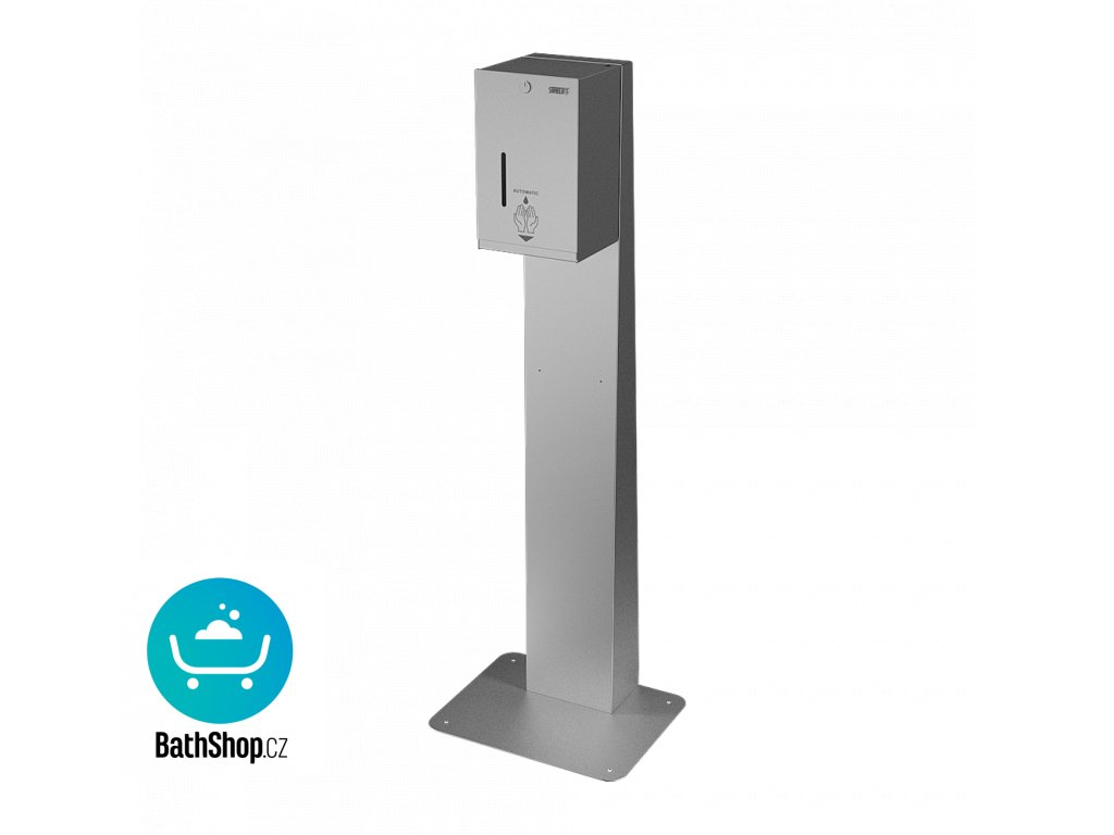 Automatický nerezový dávkovač tekuté i gelové dezinfekce - včetně stojanu pro postavení ke stěně