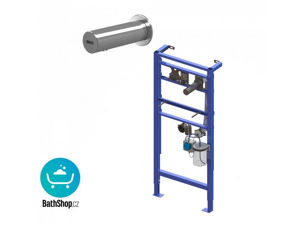 Automatický nerezový nástěnný dávkovač mýdla včetně montážního rámu SLR 24, nádržka na mýdlo 1 l, 230 V AC