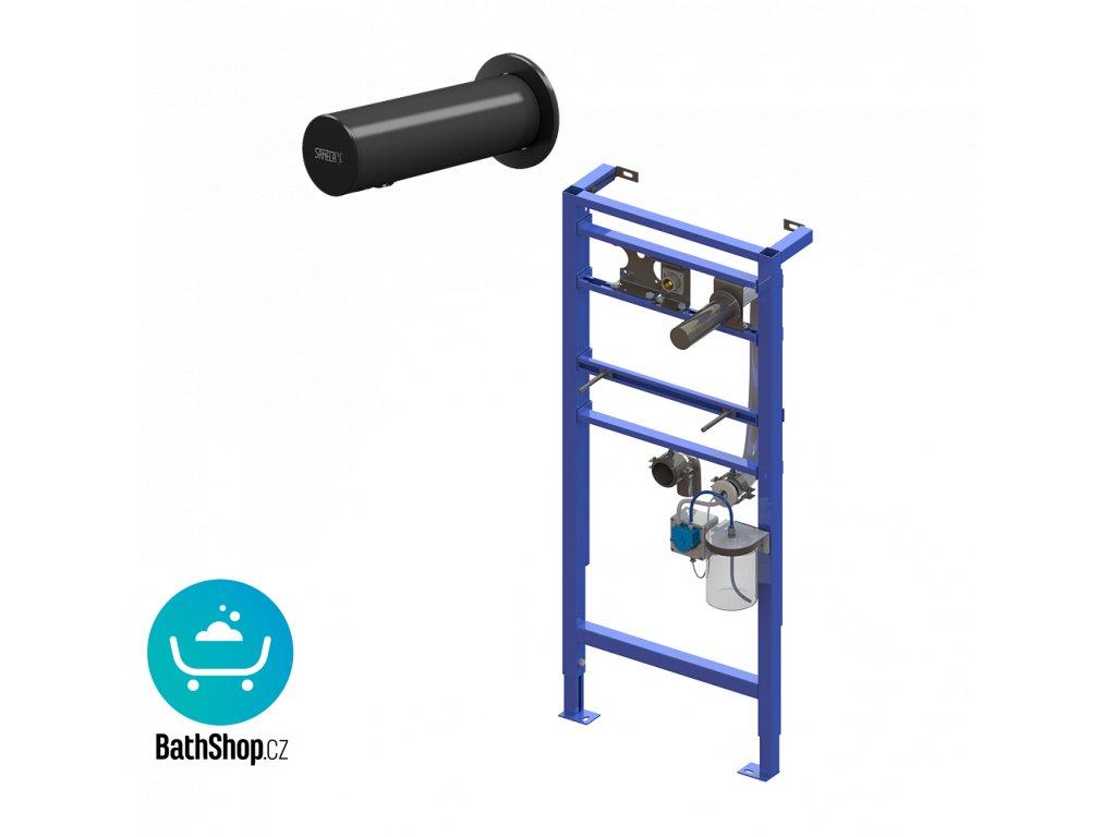 Automatický nerezový nástěnný dávkovač mýdla včetně montážního rámu SLR 24, nádržka na mýdlo 1 l, černý, 230 V AC