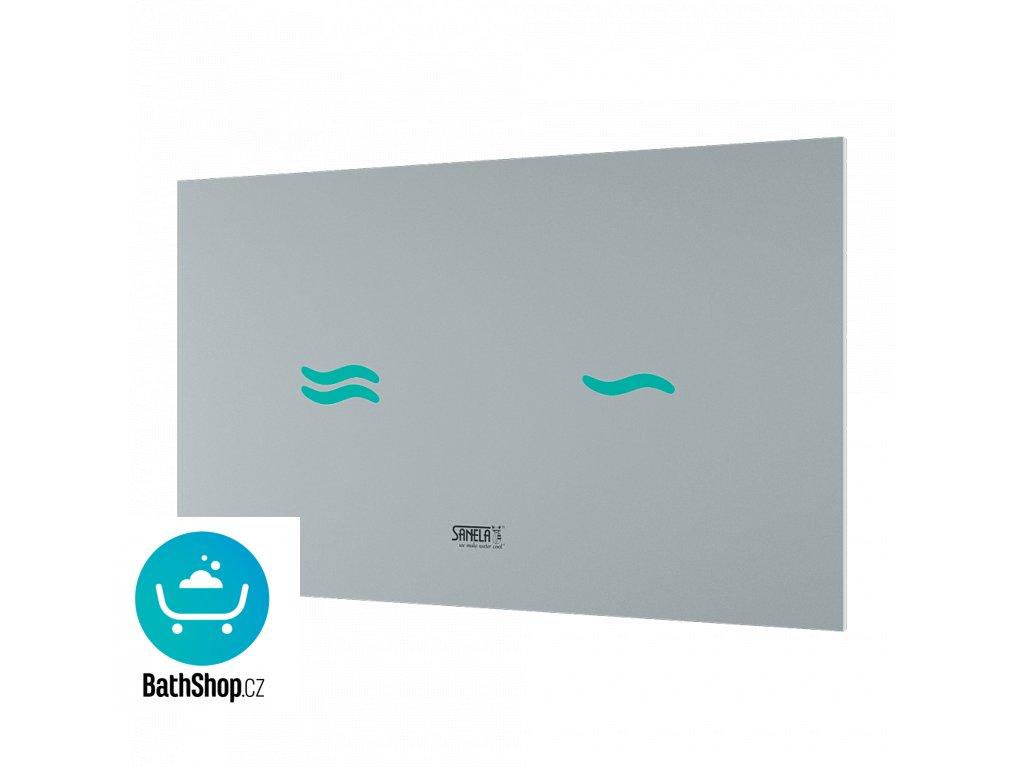 Elektronický dotykový splachovač WC s elektronikou ALS do montážního rámu SLR 21, barva skla bílá, podsvícení modré, 24 V DC