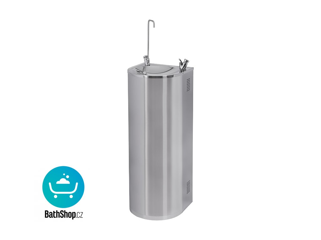 Nerezová pitná fontána určená k montáži ke stěně, s chladící jednotkou, pitnou a napouštěcí armaturou