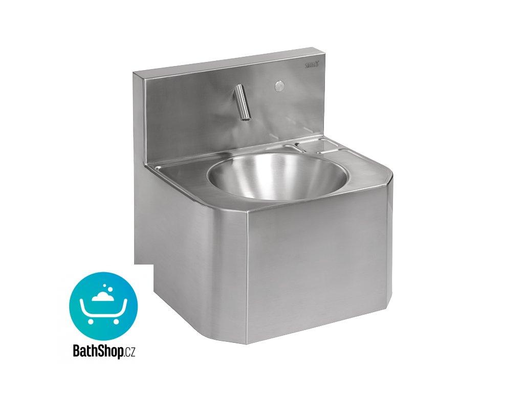 Nerezové automatické závěsné umyvadlo s piezo systémem, pro jednotrubkový přívod studené nebo tepelně upravené vody, 6 V