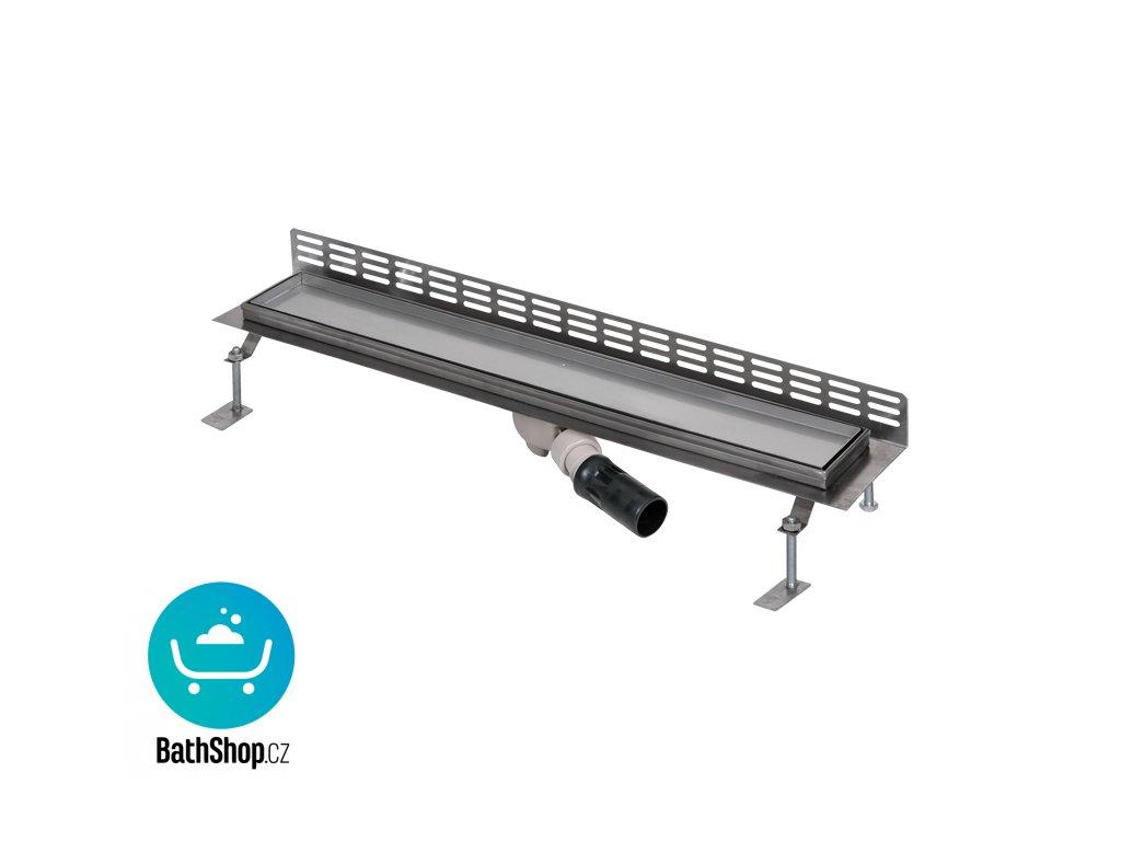 Nerezový koupelnový žlábek pro dlažbu ke stěně, délka 750 mm