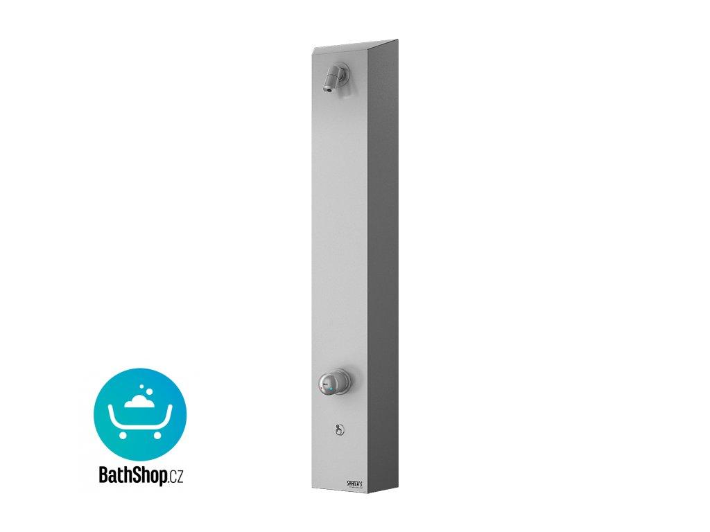 Nerezový sprchový nástěnný panel s piezo tlačítkem - pro dvě vody, regulace směšovací baterií