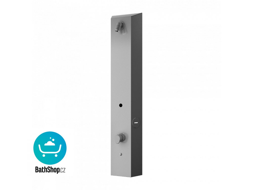 Nerezový sprchový nástěnný žetonový RFID panel - pro dvě vody, regulace termostatem, 24 V DC
