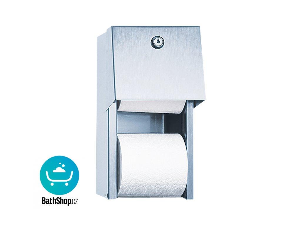 Nerezový zásobník dvou toaletních rolí, k montáži na omítku, povrch matný