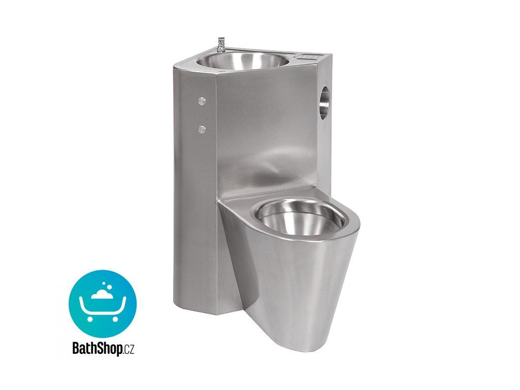 Piezo antivandalový nerezový set WC s umyvadlem do rohu, WC na zemi vpravo