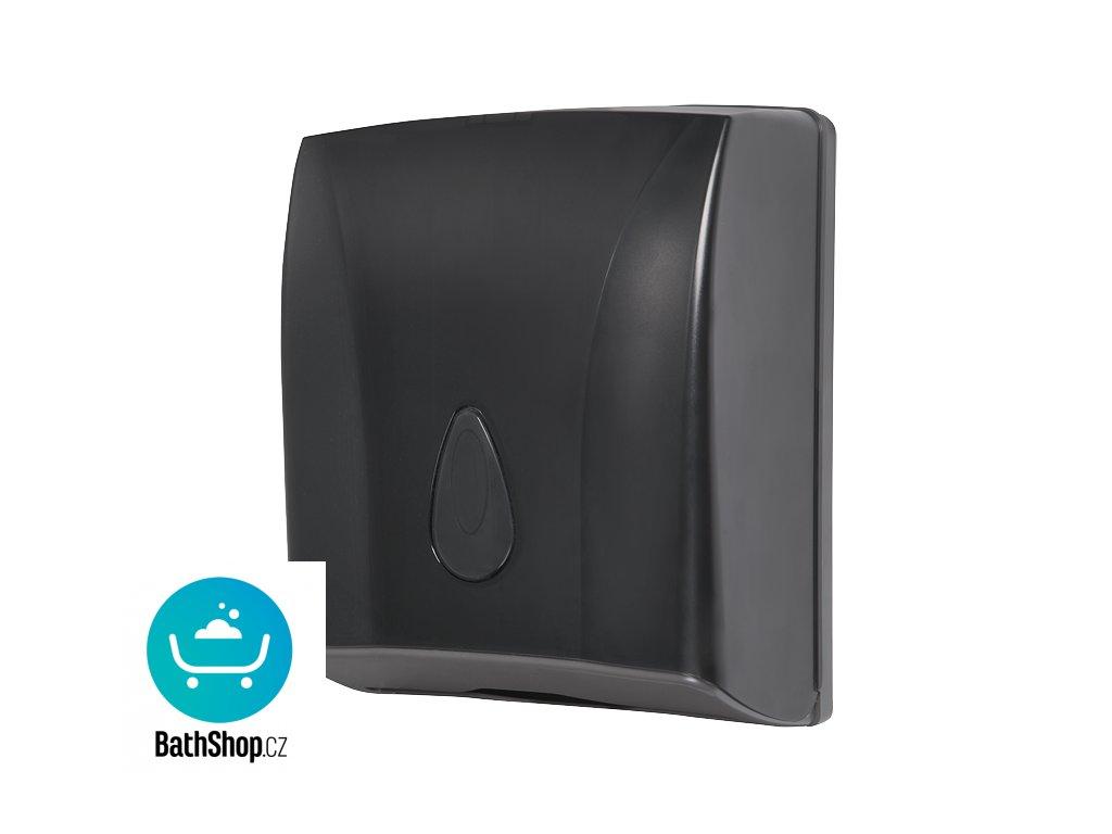 Zásobník na skládané papírové ručníky, materiál černý plast ABS