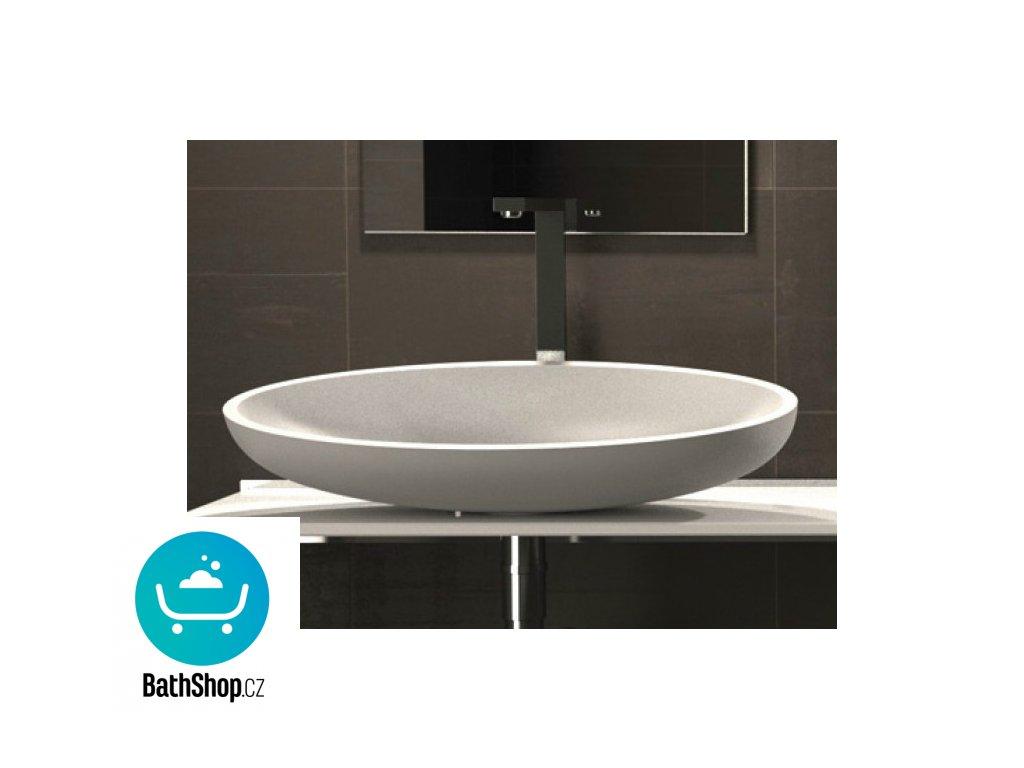 Glass Design umyvadlo  KOOL XL 650x400mm, Vetro Freddo - white glossy - KOOLXLPL01