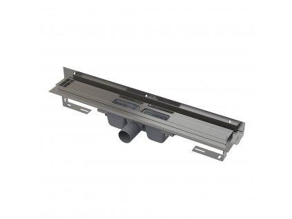 Alkaplast Flexible - Podlahový žlab s okrajem pro perforovaný rošt asnastavitelným límcem ke stěně, 750 mm  - APZ4-750
