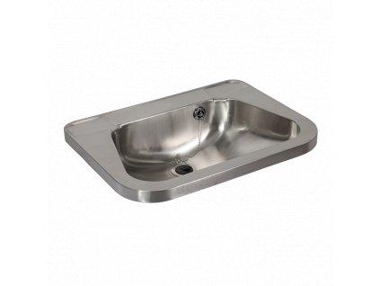 Nerezové umyvadlo bez otvoru pro stojánkovou baterii a s prolisy na mýdlo