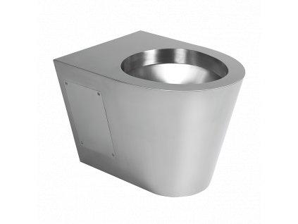 Nerezové závěsné WC bez sedátka, servisní otvor, povrch matný