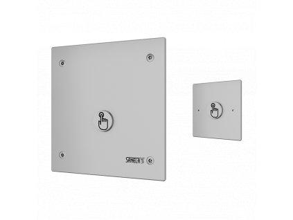 Piezo splachovač WC na tlakovou vodu s druhým tlačítkem pro oddálené spláchnutí pro tělesně handicapované se speciálním antivandalovým krytem, 24 V DC