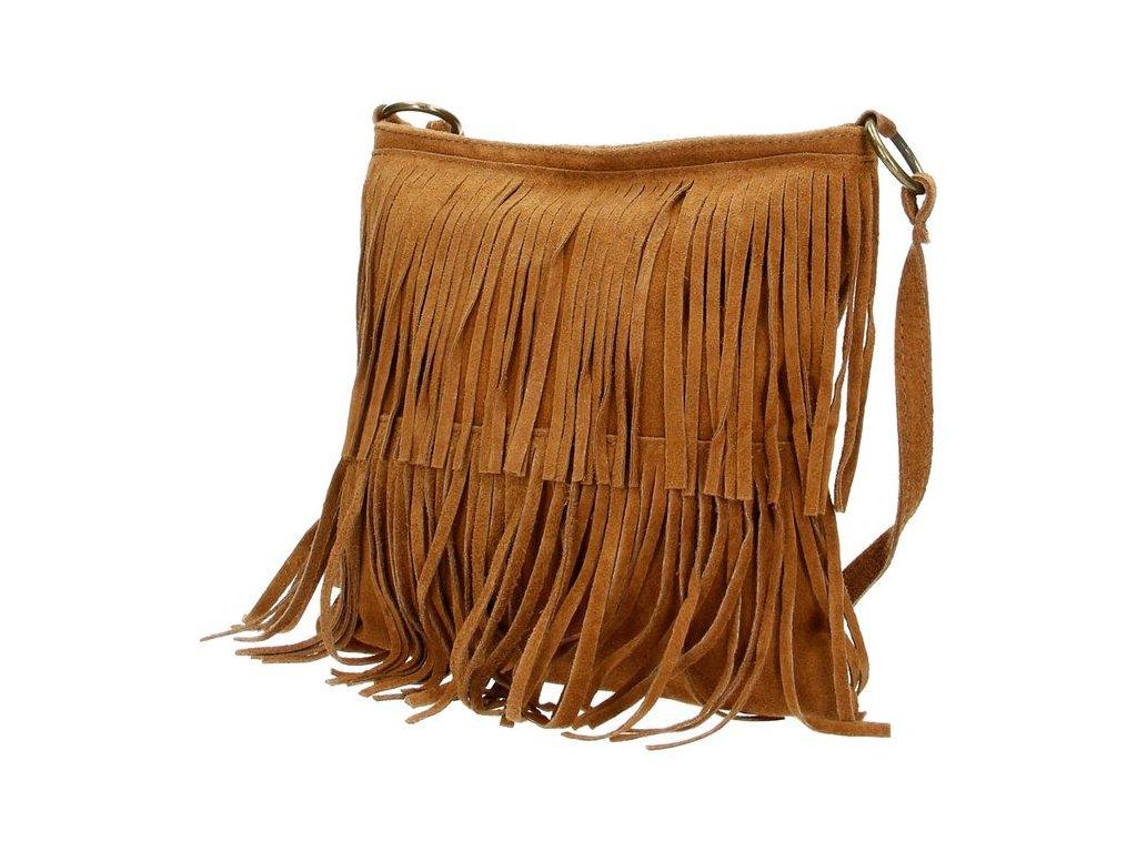 Crossbody kožená strapcová kabelka Charm London Elisa - hnedá