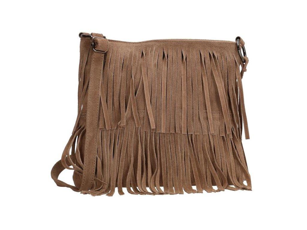 Crossbody kožená strapcová kabelka Charm London Elisa - taupe